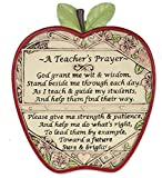 Banberry Designs Teacher Apple Plaque - A Teacher's Prayer - End of School Year Thank You Gift Brown 7 Inch