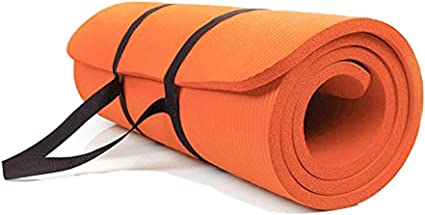 Amazon Com Sunny Exercise Mat Thick High Density Exercise Yoga Mat With Carry Strap Size 71 24 Orange Sports Outdoors