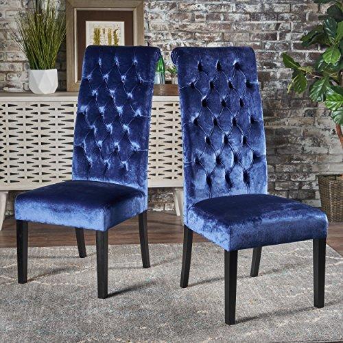 Christopher Knight Home 302116 Leorah Dining Chair Set, Navy Blue/Dark Brown (Velvet Chairs Blue Dining)