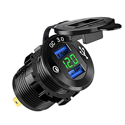 ZYTC Quick Charge 3.0 Car Charger 12V/24V 36W Aluminum Black Waterproof Dual QC3.0 USB Fast Charger Socket Power Outlet with Green LED Digital Voltmeter for Marine, Boat, Motorcycle, Truck, Golf Cart: Automotive