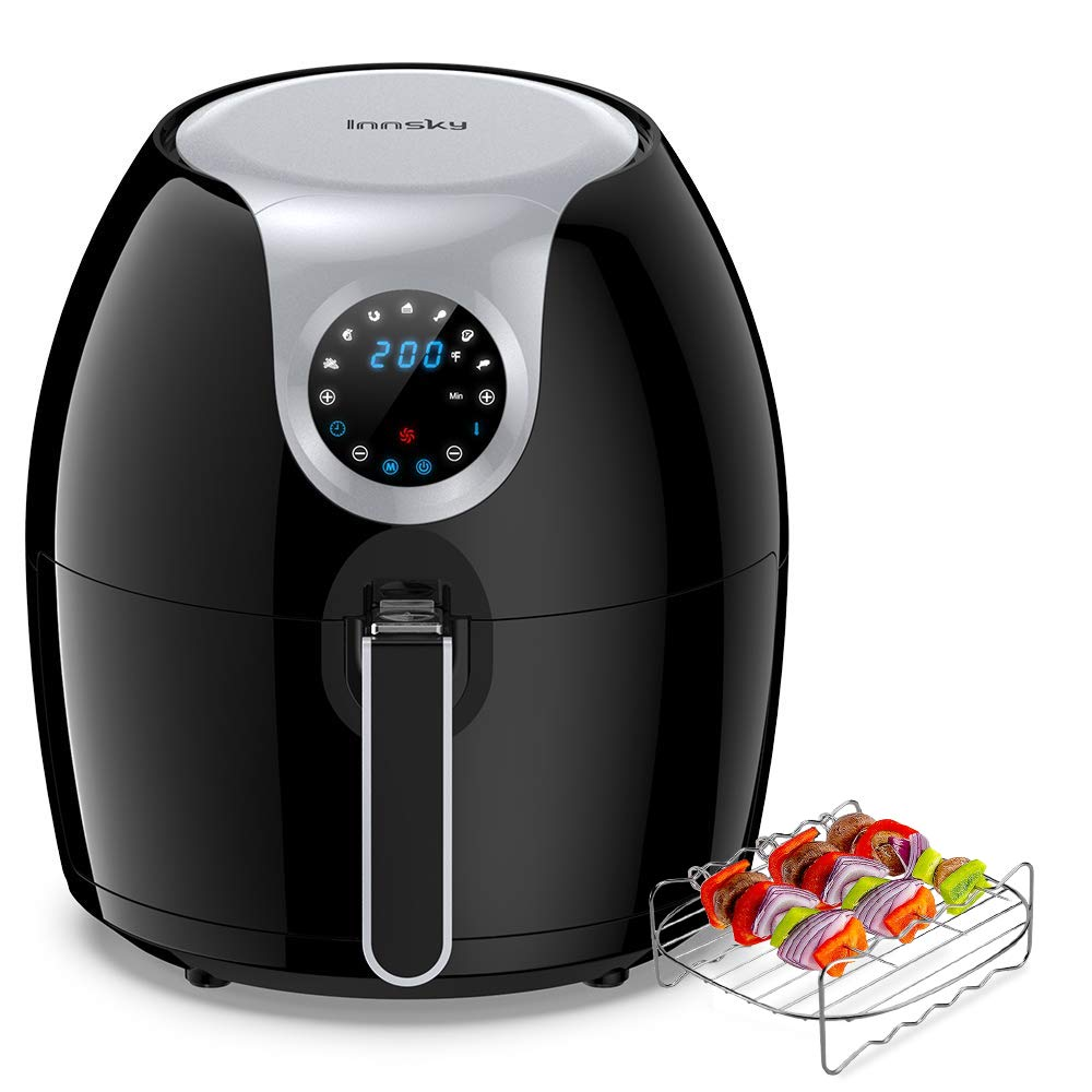 Innsky 6.3 Qt Air Fryer(Recipe book &Grilling Rack Included), 1700W Electric Hot Air Fryers Oven Oilless Cooker, LCD Digital Touchscreen, Auto Shut Off, 7 Cooking Presets, Preheat & Nonstick Basket for Fast Healthier Fried Food