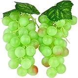 2 x decorazione plastica Grappoli d' uva Arte Frutta di plastica frutta verdura frutta artificiale decorazione 17 cm verde