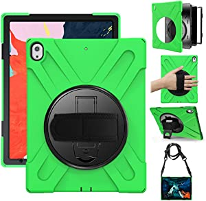 Gzerma Case for iPad Pro 12.9 2018 Case Full Body Protective Case Heavy Duty Shell Shockproof Kickstand Handle Strap Childproof Cover Case for iPad Pro 12.9 3rd Generation 2018(Green)