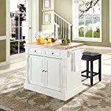 Crosley Furniture Kitchen Island with Butcher Block Top and 24-inch Upholstered Square Seat Stools - White / Black