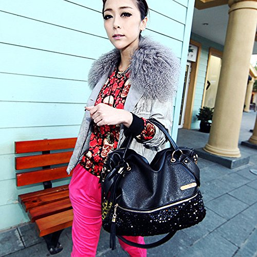 Messenger Large Women Tote Shoulder Capacity Ladies Tassel Bag PU Handbag Black Leather Sequins vT6TZCnw5q