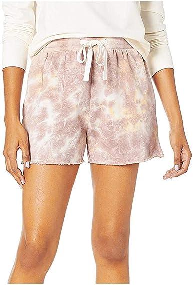 Summer Women/'s Tie Dye Elastic Waist Shorts Loose Pockets Drawstring Hot Pants