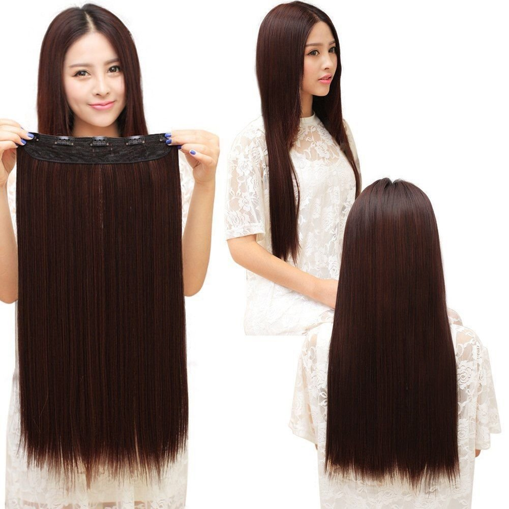 【US Stock】 Magik 3/4 Full Head Hair Extensions Clip Straight Curly w/ 5 Clips, Long (Dark Brown - Straight)