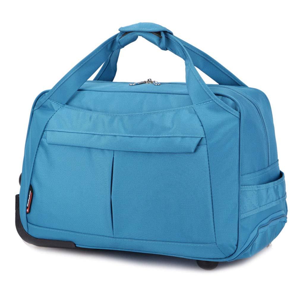 スタイリッシュなシンプルさトロリーラップトップトラベルバッグ搭乗荷物バッグビジネス学生入場パッケージ 旅行用ハンドバッグ (色 : 青, サイズ : L) Large 青 B07QK39CVN