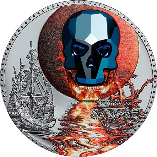 2019 GQ Crystal Skull PowerCoin LUNA SANGRE Blood Moon 1 Oz Silver Coin 1000 Francs Equatorial Guinea 2019 Proof