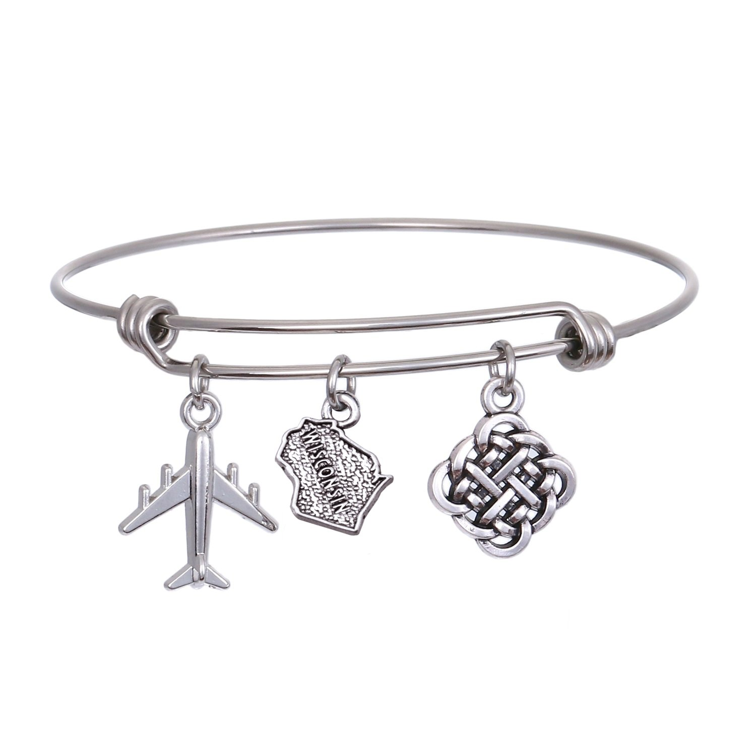 JJTZX State Bangle U.S. Map Charm Expandable Travel Bracelet Long Distance Relationship Gift Best Friends Bracelet (Wisconsin)