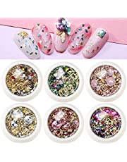 Nail Art Rhinestones Decorations for Women 3D Nail Crystals Gems 6 Wheels Mixed Flatback Rivets Diamond Jewel Beads Charms Colorful Nail Art Accessories Supplies for DIY Designs Manicure Wraps