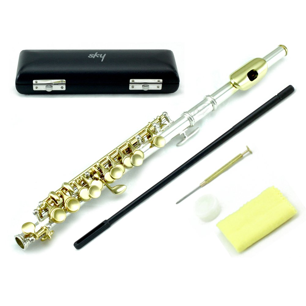 Sky Band Approved Piccolo Key of C with Hard Case, Cloth, Cleaning Rod, Joint Grease and Screw Driver, Guarantee Top Quality Sound (Silver/Gold)