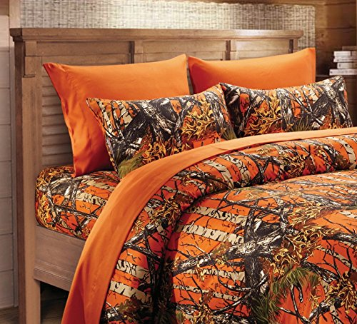 Hunter Camo Rustic Microfiber Bed Sheet Set & Pillowcases (Orange, Twin)
