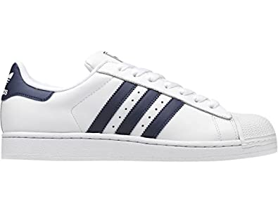 Adidas Originals Men's Classic Superstar 2 White Navy Stripe Leather Retro  Casual Shoes Trainers (UK
