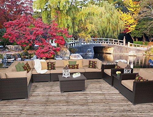 11 Piece Furniture (TK Classics 11 Piece Belle-11A Outdoor Wicker Patio Furniture Set, Wheat)