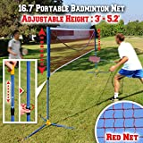 BenefitUSA Portable Badminton Net Volleyball Tennis Net w Stand for Family Sport (16.7ft)