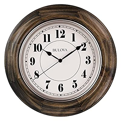 Bulova C4847 Albany Wall Clock, Dark Cherry Finish - Solid hardwood case Quiet sweep (no ticking) second hand Protective glass lens - wall-clocks, living-room-decor, living-room - 61oSgMi0InL. SS400  -
