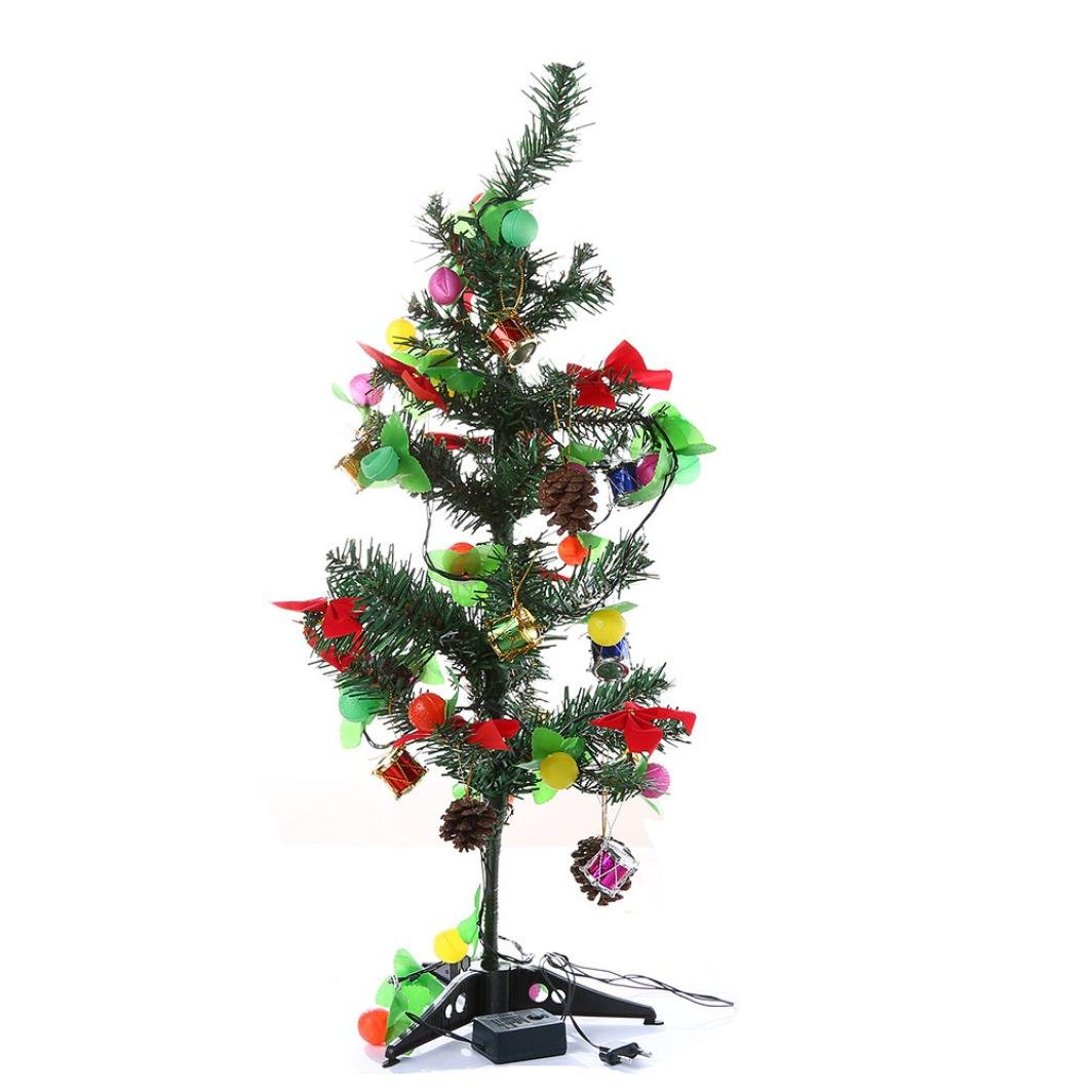 Artificial Flocking Christmas Tree With Multicolor LED Lights Decorations Set,ChainSee Xmas Holiday Party Decorations Desk Window Ornaments (Mulicolor, 60cm)