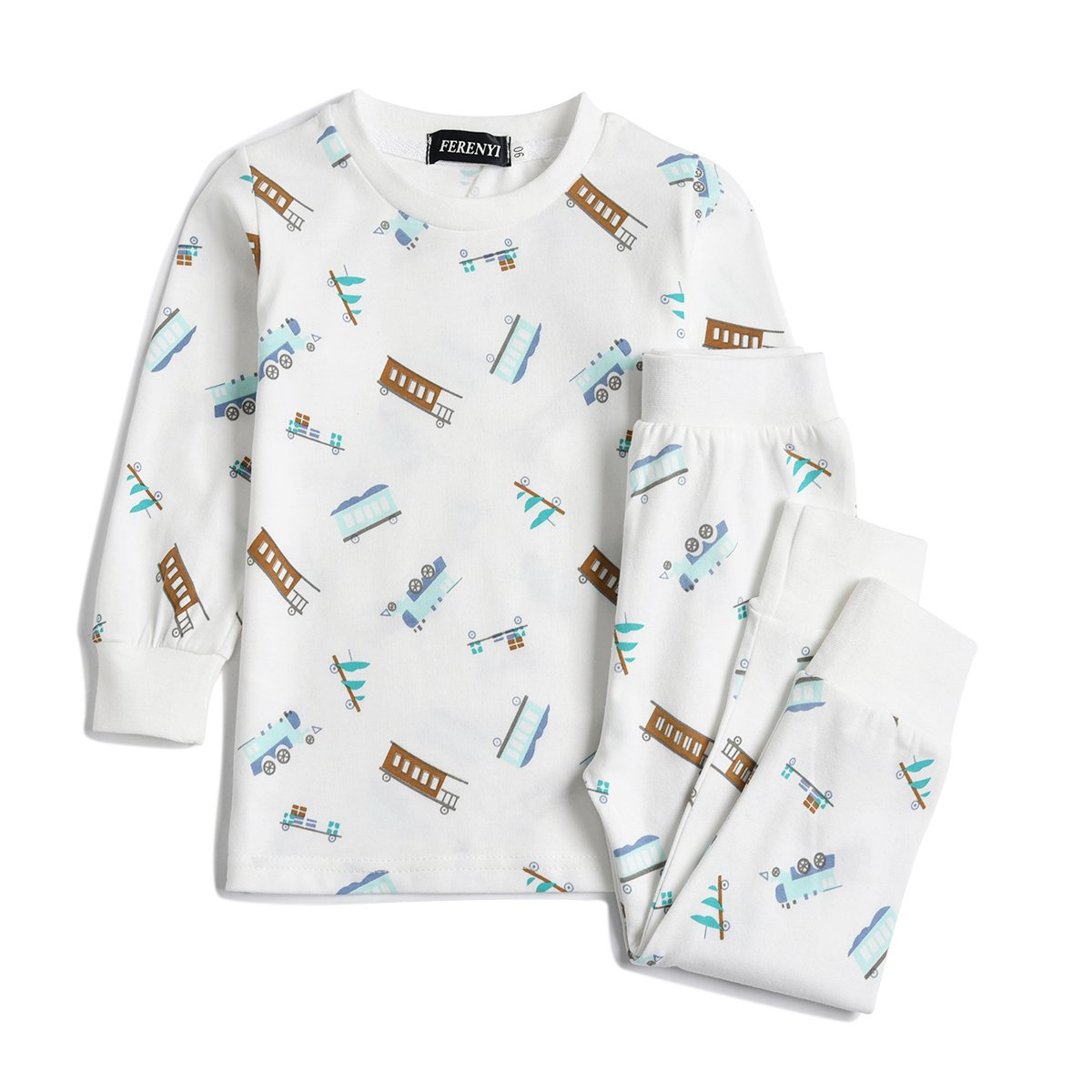 FERENYI Children Pajamas Cotton Kids Clothes Toddler Sleepwear Clothes T Shirt Pants Set For Kids (White, 3T)