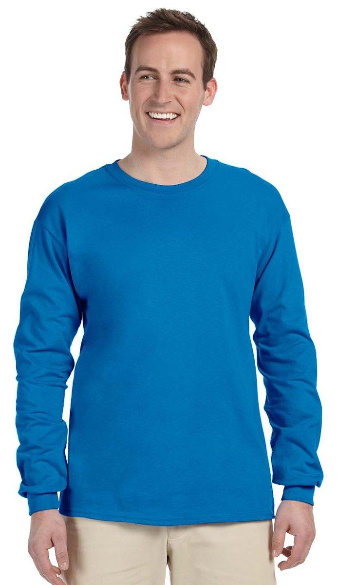 Gildan Men's Ultra Long Sleeve Rib-Knit Cuffs T-Shirt, XX-Large, Sapphire