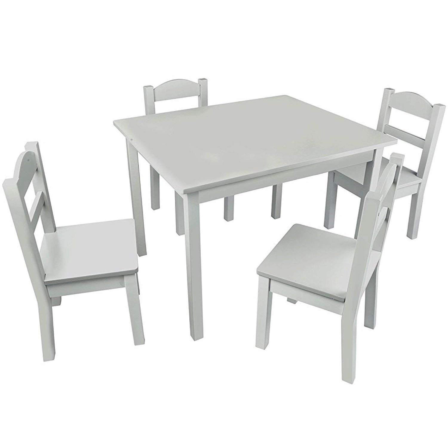 Pidoko Kids Table and Chairs Set Gray - 4 Chairs and 1 Activity Table for Children - Educational Toddlers Furniture Set (Grey)