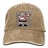 Unisex Dabbing Santa Claus Ugly Christmas Cotton Denim Baseball Cap Adjustable Sun Hat for Men Or Women