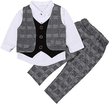 Niño Caballero Pantalones Traje bebé niño Blanco Camisa de Manga Larga a Rayas Chaleco de Tres Piezas Traje para 1-4 años de Edad niños: Amazon.es: Ropa y accesorios