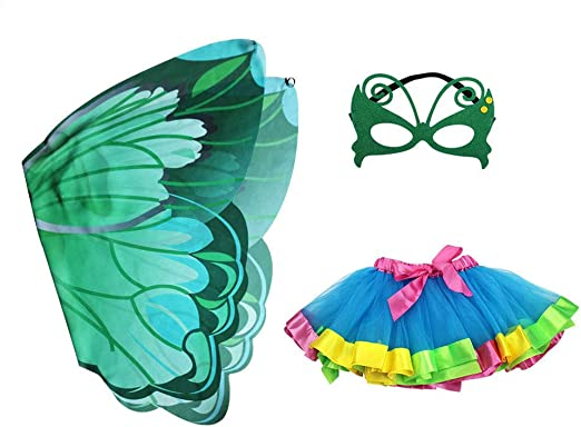 FENICAL Disfraz de Hadas Mariposa alas Falda tutú máscara (Verde ...