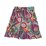 Womens Mini Skirt Pink Floral Printed Cotton Bohemian A- Line Skirts S