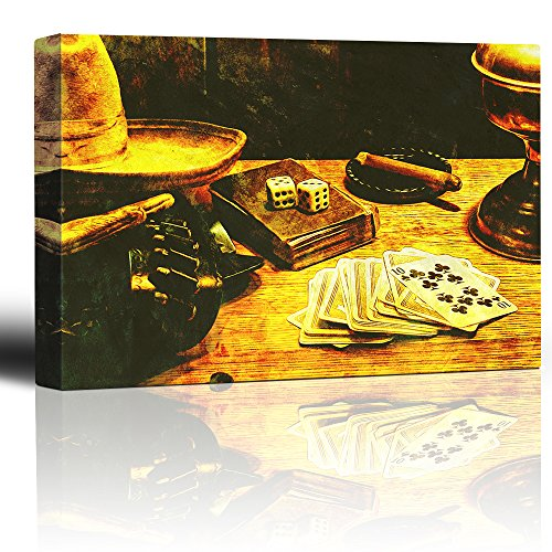 Cowboy gambler Cigar smoking in ashtray Deck of cards and pair of dice Gunbelt hat and gloves