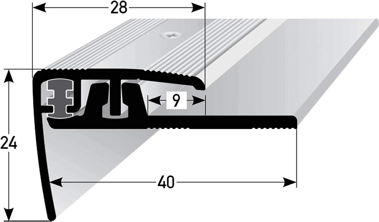 Treppenstufen-Profil aus Alu silber * Rutschhemmend * Robust * Leichte Montage Gelochtes Stufenkanten-Profil acerto 37212 Aluminium Treppenkantenprofil Treppenkanten-Profil 4-7 mm 90cm