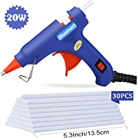 Blusmart Mini pistolet à colle chaude avec 25pièces Melt Bâtons de colle, 20Watts Bleu haute température Pistolet à colle pour travaux manuels projets et kit de réparation