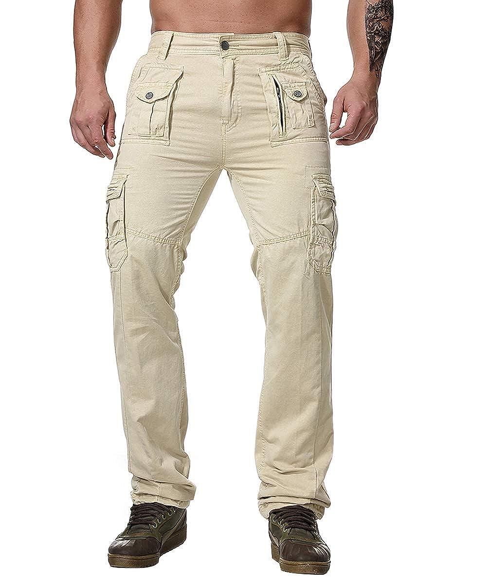 595163f21dccae Light Khaki AOWOFS Men's Cargo Pants Casual Multi Multi Multi Pockets  Regular Fit Military Solid color Work Pant e0c50a