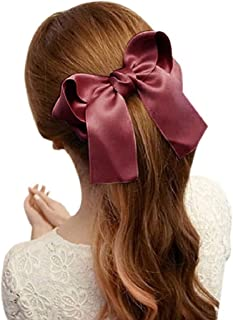 Ikevan Women Girls Cute Large Big Satin Hair Hair Clip Boutique Ribbon Bow (Khaki)