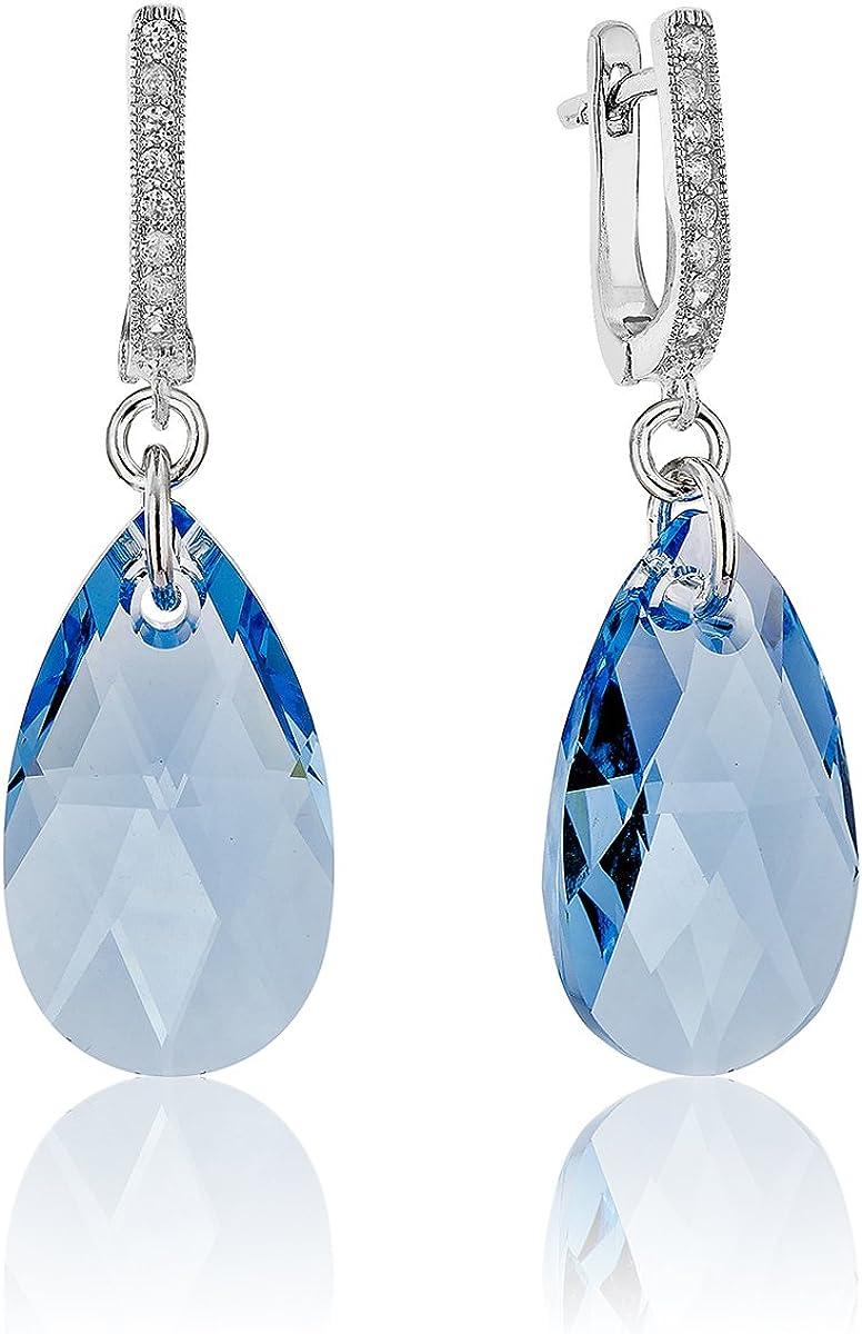 DTP Silver - Pendientes Colgantes de plata en forma de Lágrima/Gota - Plata 925 con Cristal Swarovski 13 x 22 mm de color: Agua Marina/Azul Claro