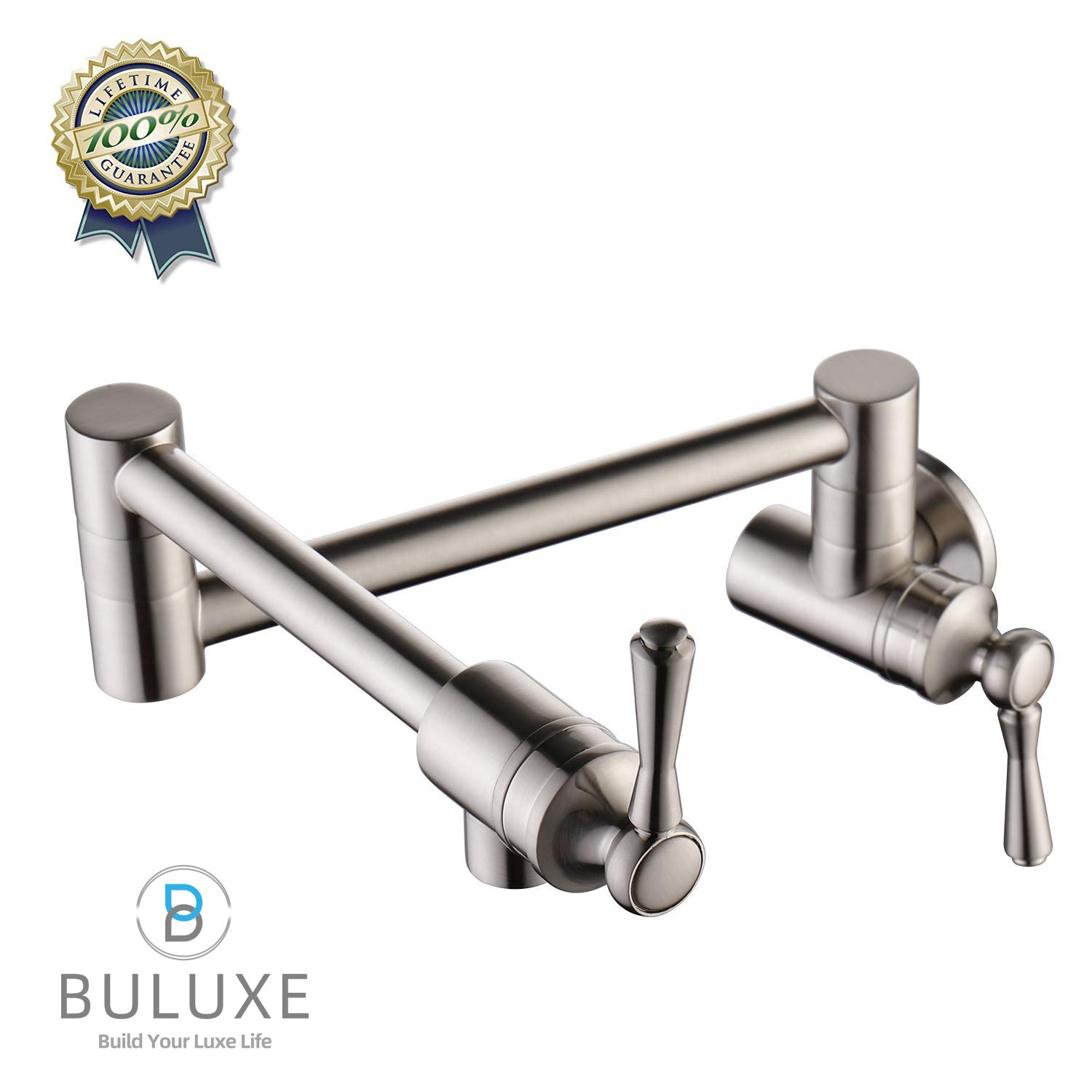 BULUXE Pot Filler Faucet Wall Mount Kitchen Faucets Stainless Steel Brushed Nickel Hot or Cold Water Faucet for Kitchen Dual Handle Stretchable 360° Swing Arm Foldable Kitchen Faucet Sink Stove by BULUXE