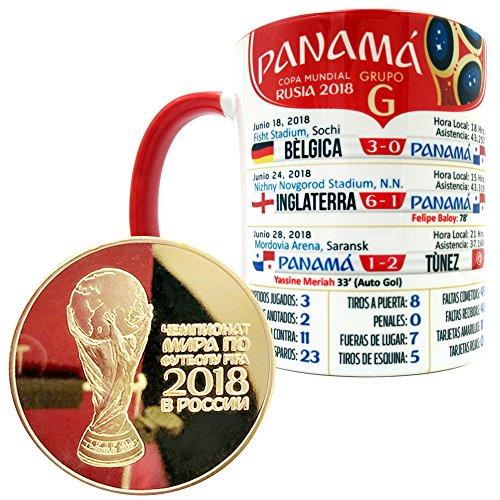 Gio Gifts Panama Mug Soccer Coffee/Tea Mugs and Cups 11 Oz. Gold Coin World Cup Russia 2018 Collectible