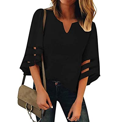 Shakumy Women Summer Blouses Mesh Panel Tee Tunic Shirt Casual Loose Fit Hollow Out V-Neck 3/4 Bell Sleeve Top T-Shirt at Women's Clothing store