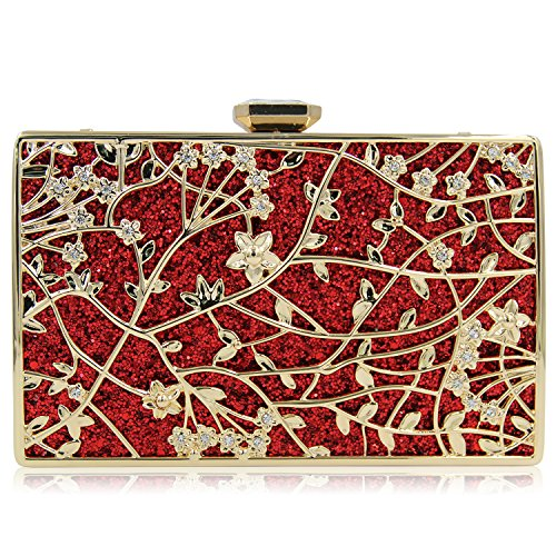 Milisente Flower Metal Evening Handbag for Wedding Clutches Purses (Red)