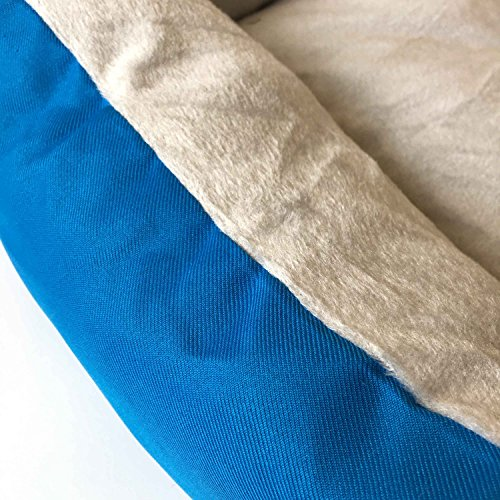 Image of ALEKO PB06BL Plush Pet Cushion Crate Bed for Dogs Cats Medium Machine Washable Indoor Outdoor 20 x 16 x 6 Inches Blue and White