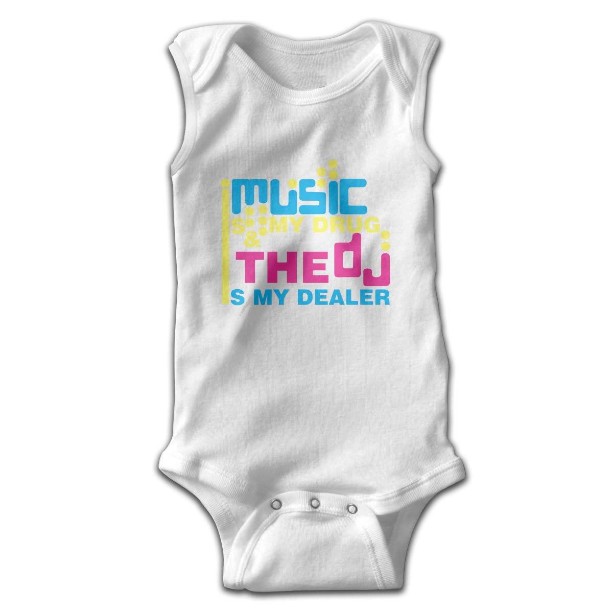 Efbj Infant Baby Girls Rompers Sleeveless Cotton Jumpsuit,Music is My Drug Bodysuit Summer Pajamas