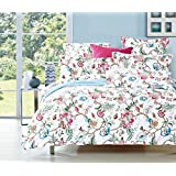 Floral Duvet Cover Set Queen, Flowers Pattern Printed on White, Soft Microfiber Bedding with Zipper Closure (3pcs, Queen Size)