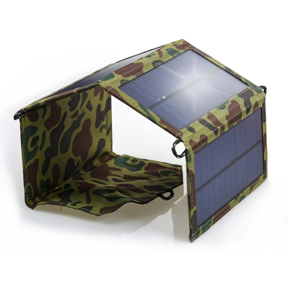 YANDA Foldable Solar Charger 7W Solar Panel with USB Ports Waterproof Solar Panel Charger for Smartphones Tablets and Outdoor Camping Travel