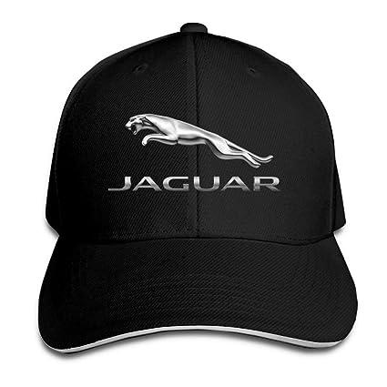 32d090cde37dc Amazon.com  GlyndaHoa Unisex Jaguar Logo Adjustable Sandwich Peaked Baseball  Caps Hats Black  Sports   Outdoors