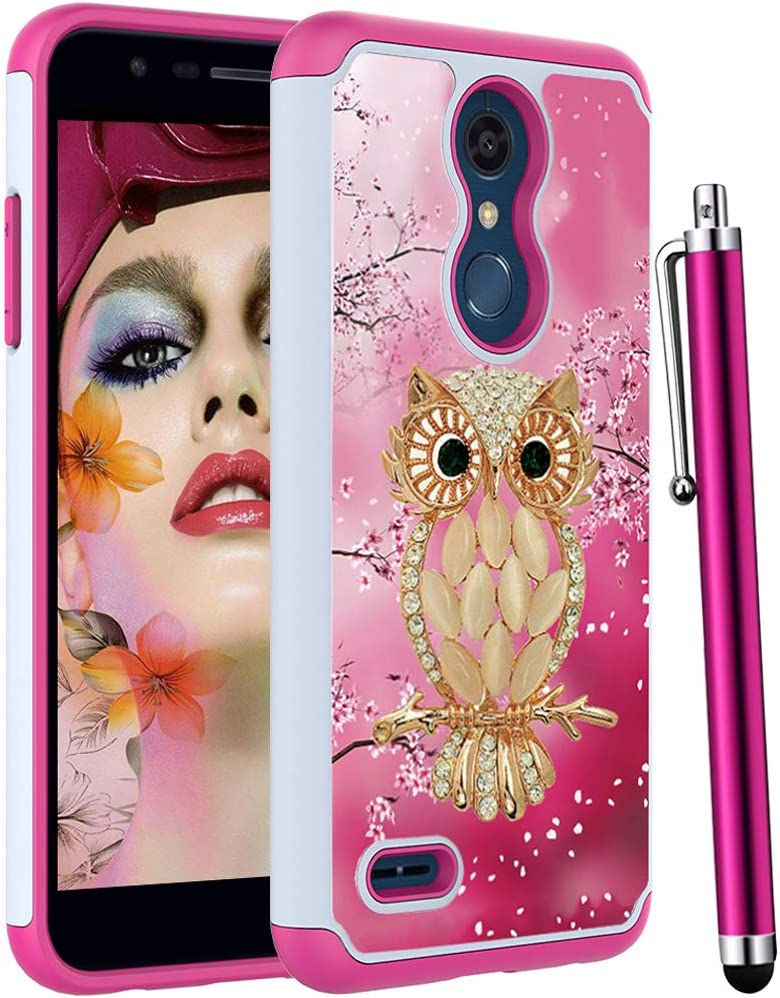 Voanice forLG K30 Case/LG Premier Pro LTE/LG Phoenix Plus/LG K10 2018 for Women Girls, Heavy Duty Shockproof Dual Layer Protectiive Silicone Rubber+Hard PC Armor Phone Cute Cover & Stylus-Pink Owl