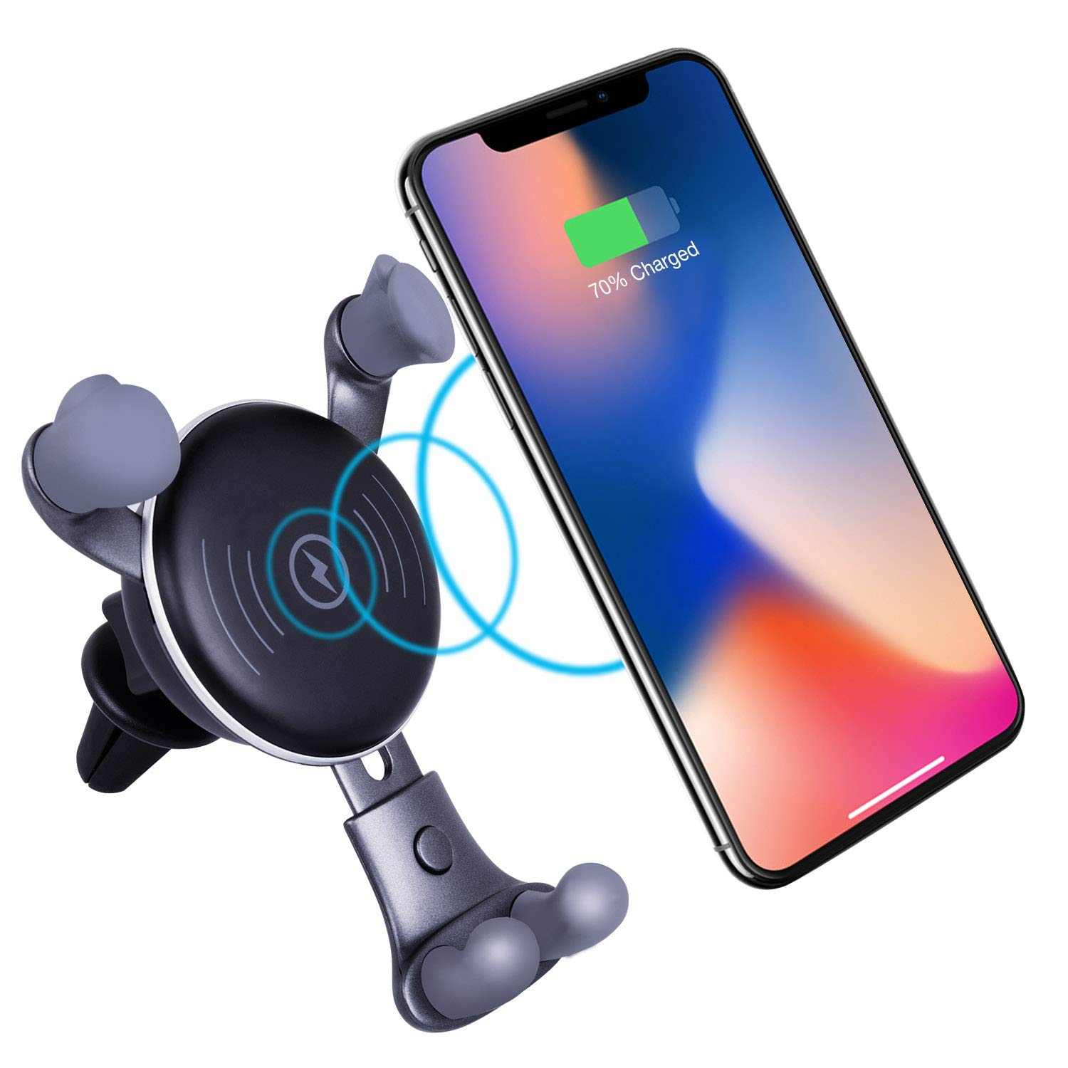 Wireless Charger,TaoTens Cell Phones Accessories Car Mount S7//S7 Edge Note 8 5 and 5W Standard Charge for iPhone Xs MAX,iPhone Xs,iPhone X Air Vent Phone Holder 10W Charge for Samsung Galaxy S8