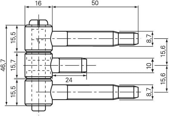 Stahlzargenband 3-tlg gef/älzte Holzt/üren Band 18 x 61 mm f Stahl vernickelt
