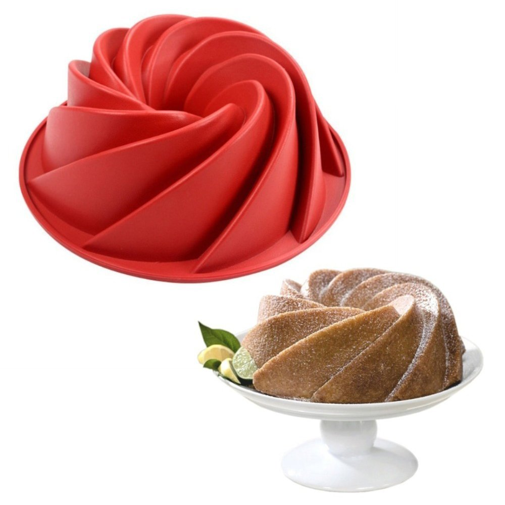 Vogvigo Spiral Shaped Bundt Pan small cake mold Rose Flower Shaped Bundt Cake Pan Decorating Bundt Cake Mold Nonstick Silicone Baking Mold