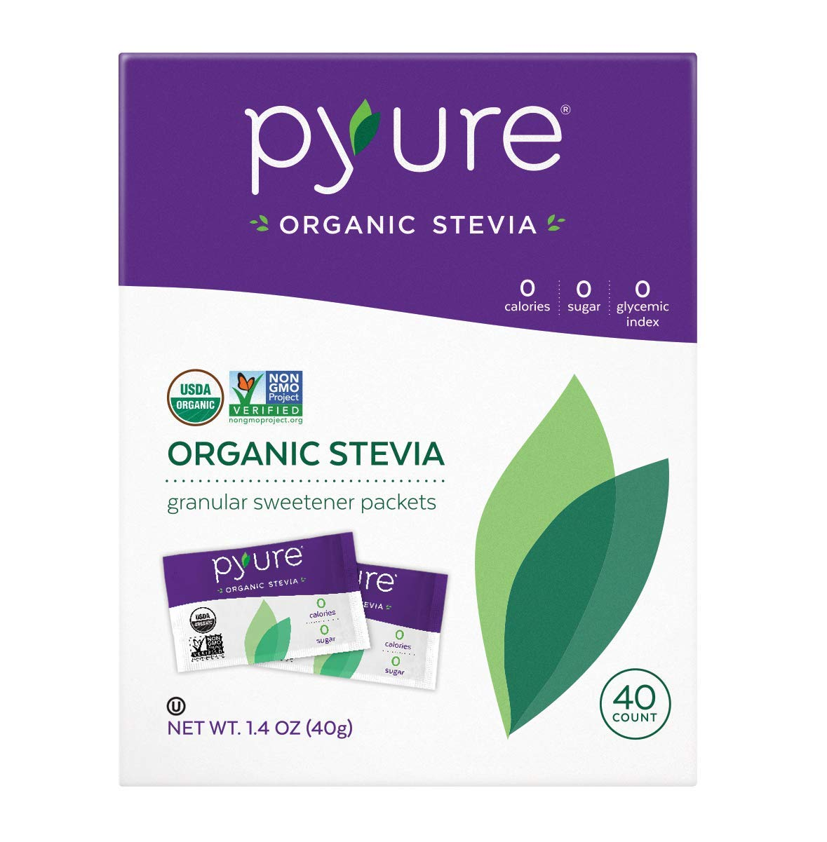 Pyure Organic Stevia Sweetener Packets, Granulated Sugar Substitute, 40 Count by Pyure
