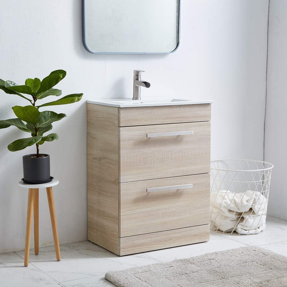 Bath Vanity Set Combo with Integrated Porcelain Top Sink 23 Wood ...